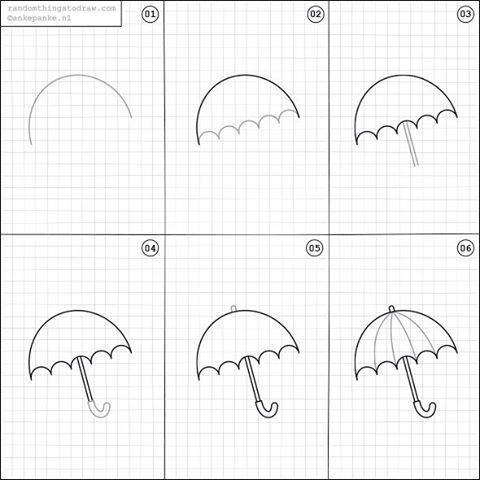 Learn to draw a umbrella for kids