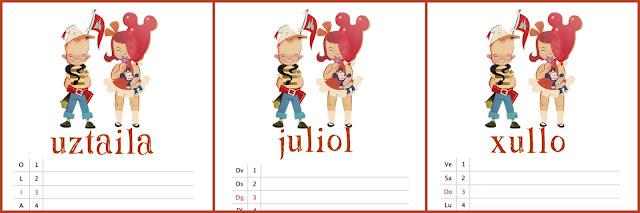 hoja de calendario julio