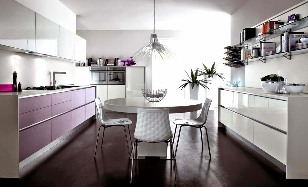 Central circular table modern kitchen