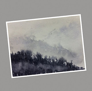 Water colour plein air painting of a scene during monsoon at West Sikkim by Manju Panchal