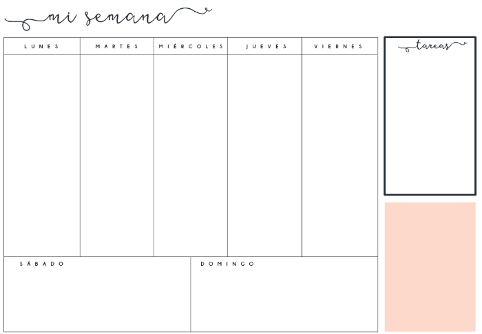 Planificador semanal con huecos
