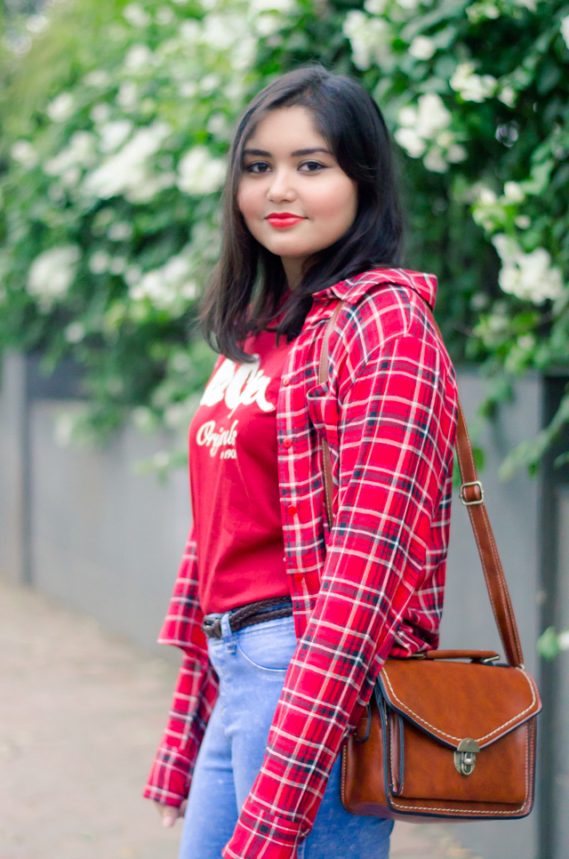 Plaid Shirt, Graphic Tshirt and Satchel