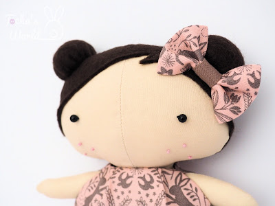 rabbit, rag doll, stuffed toy, tilda doll, Irene & Lewis, cotton, polyester, eco felt, pink, handcrafted,