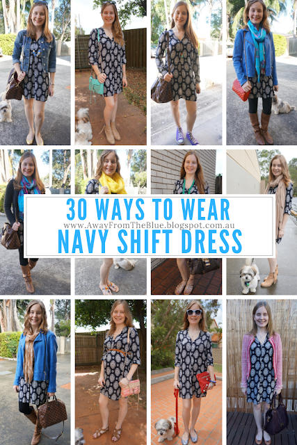 30 ways to wear #30wears challenge: Navy Zara printed tunic shift dress