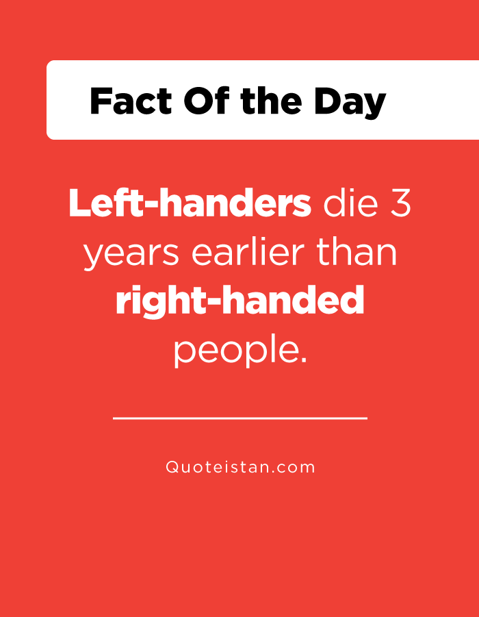 Left-handers die 3 years earlier than right-handed people.