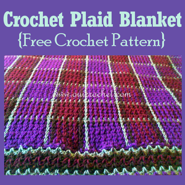 Crochet, Free Crochet Pattern, Crochet Plaid, Crochet Plaid Blanket, V-Stitch Trim,