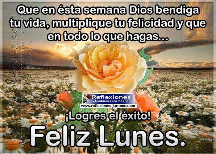 Feliz lunes, que en ésta semana Dios bendiga tu vida, multiplique tu felicidad y que en todo lo que hagas, logres el éxito