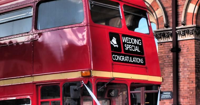 Red wedding bus