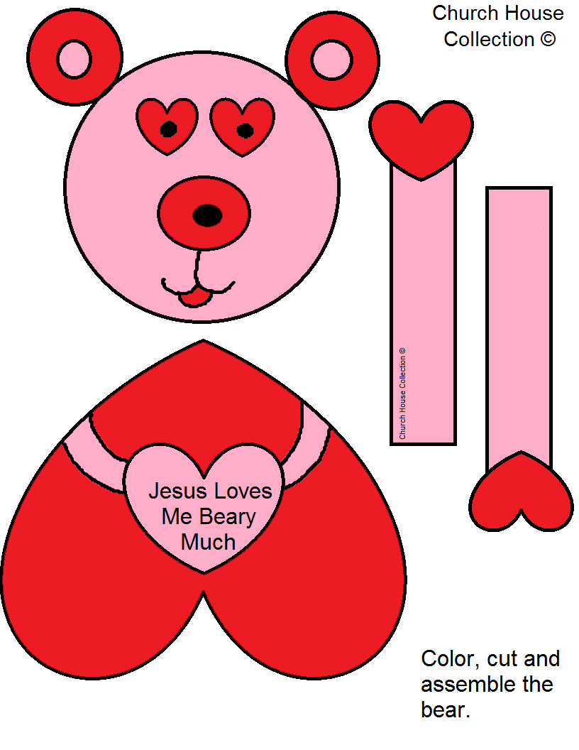 """Jesus Loves Me Beary Much"" Valentine's Day Cutout Craft For Kids"