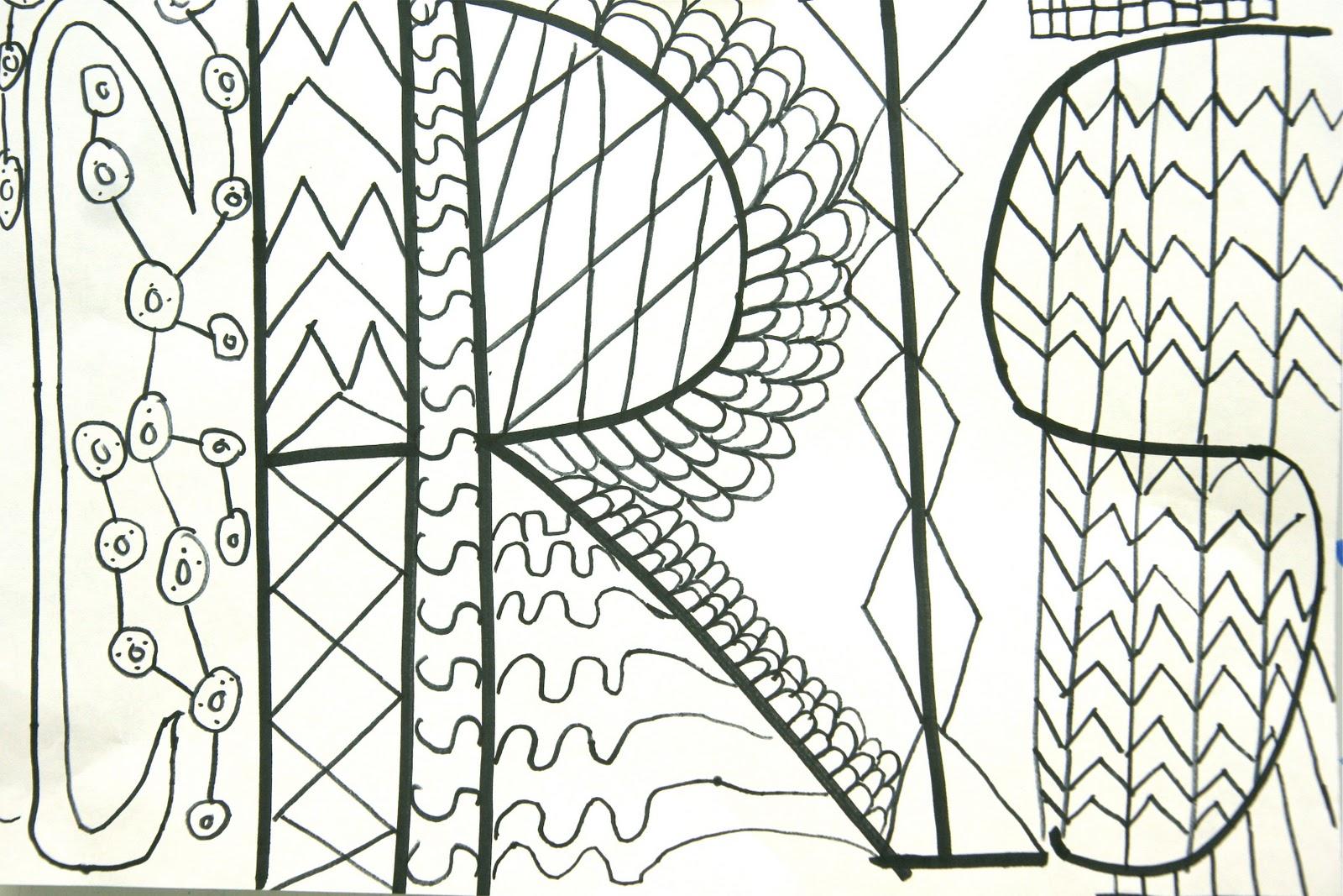 Name Drawings: Splish Splash Splatter: Abstract Name Drawings W/ Pattern