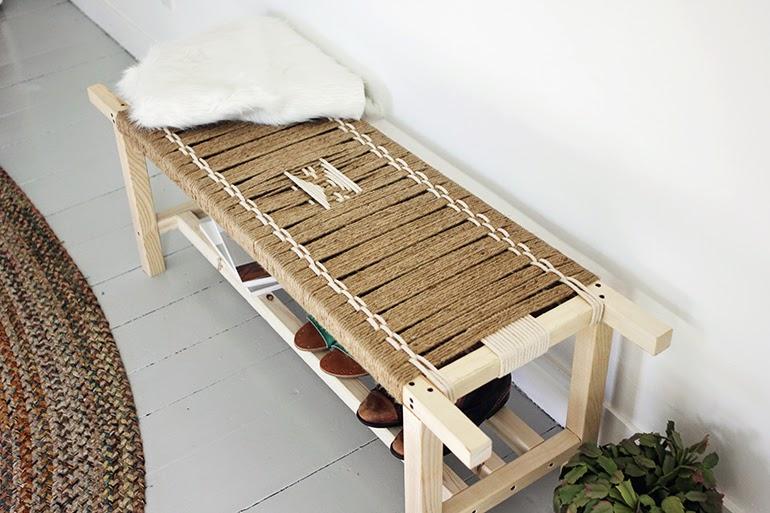 ma maison au naturel un banc en corde tiss e faire vous. Black Bedroom Furniture Sets. Home Design Ideas
