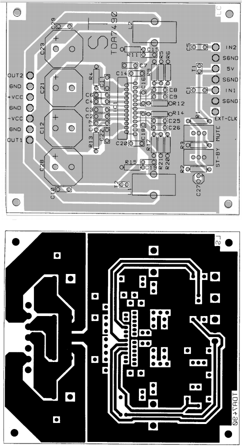PCB layout TDA7490 Audio Amplifier 2 x 25W / 1 x 50W circuit diagram