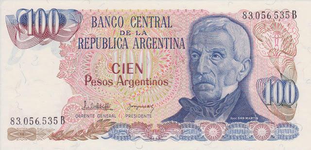 Argentina Banknotes 100 Pesos Argentinos banknote 1985 Jose de San Martin