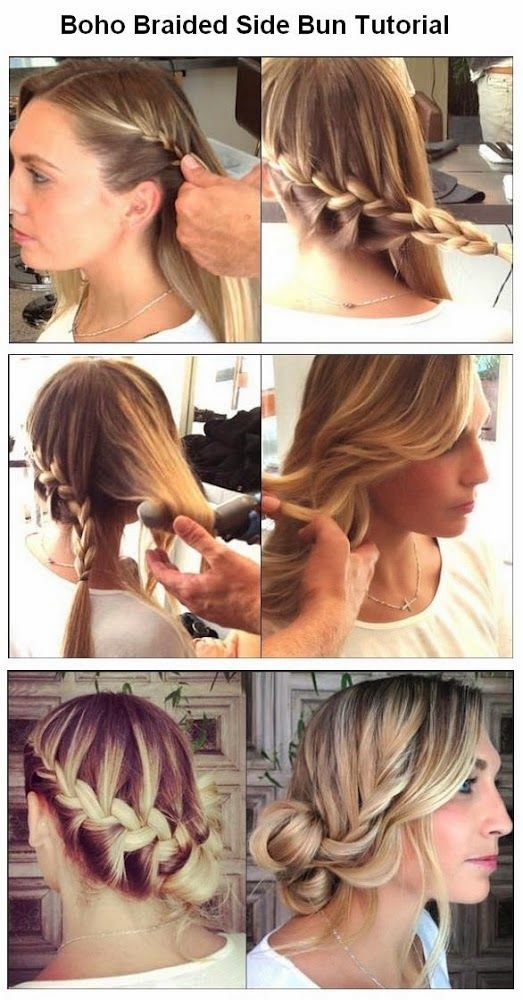 The Best  Useful Hair Tutorials Ever, Boho Braided Side Bun For Hair