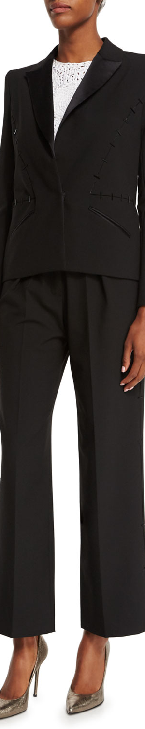 Zac Posen Structured Tuxedo Blazer, Licorice