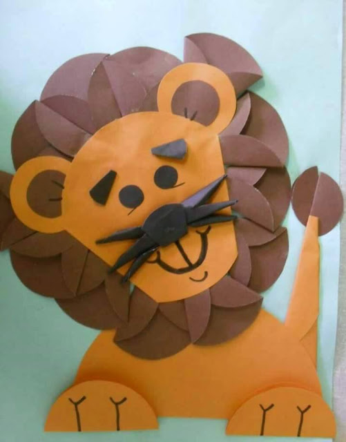 Idea to make something from folded papercraft for kids : lion
