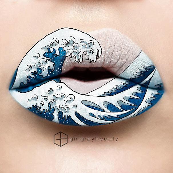 Maquilladora Hace increíble arte de sus labios