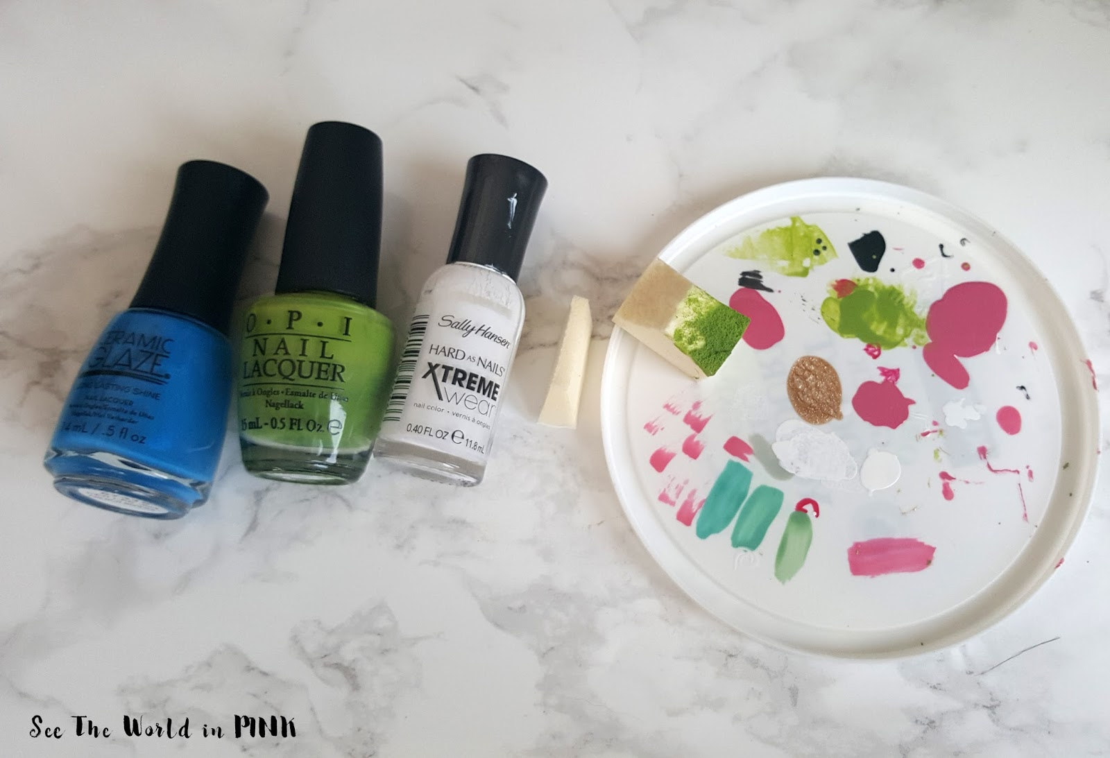 Earth Day Manicure Monday - Earth Sponge Nail Art