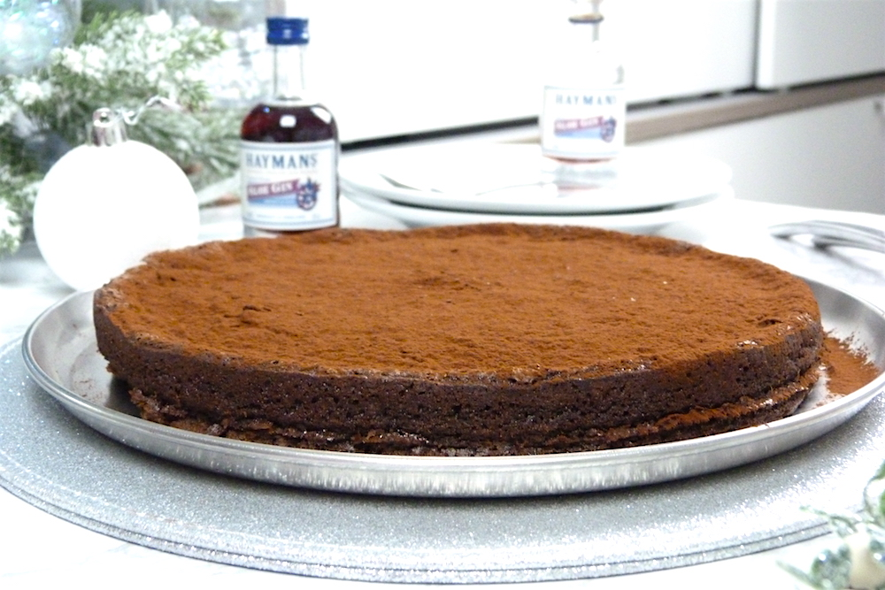 an image of Sunken Chocolate and Sloe Gin Cake with Hayman's Gin