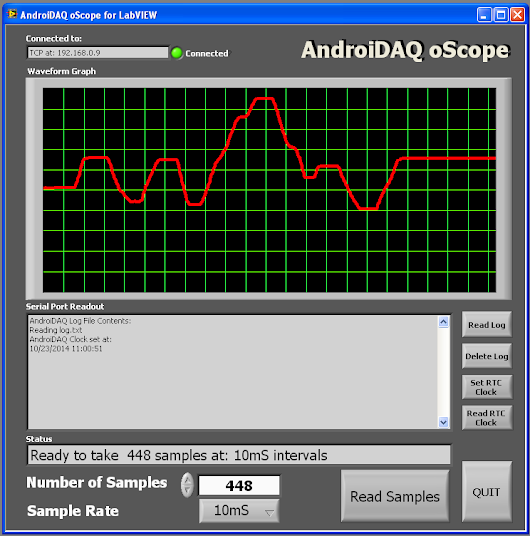 Using the AndroiDAQ oScope for LabVIEW®.