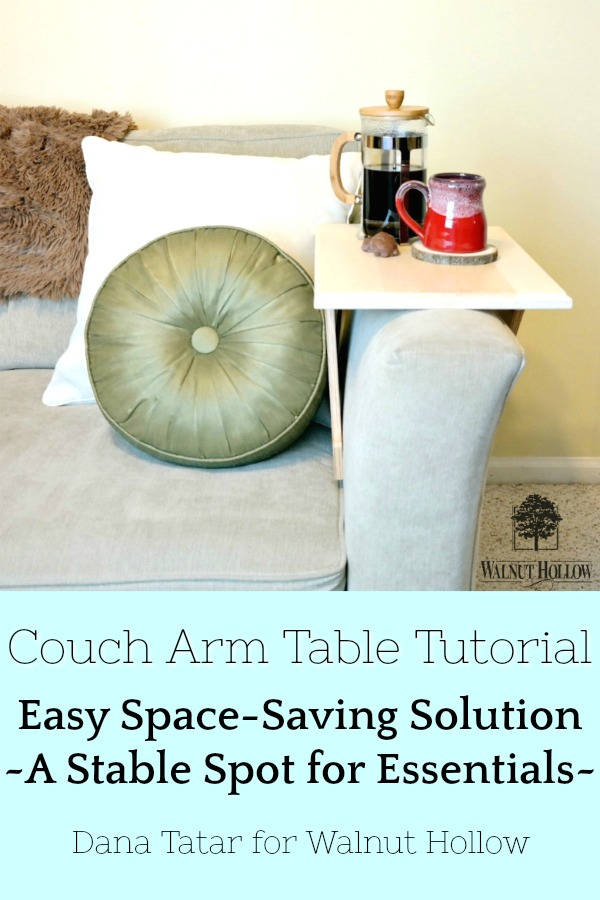 DIY Couch Arm Table with Coffee