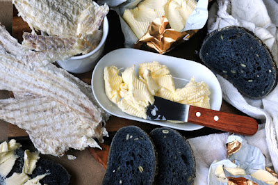 Dried fish and charcoal bread are typical Icelandic cuisine