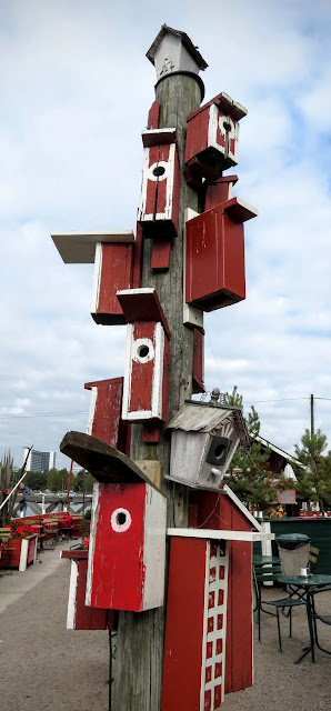 Tower of birdhouses at Regatta Cafe in Helsinki, Finland