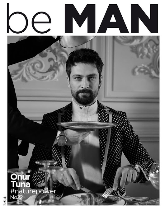 Male Fashion Trends: Onur Tuna en blanco y negro para be MAN Magazine Febrero 2019