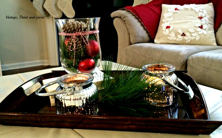 Vintage, Paint and more... vignette of mercury glass votives, vase with pine cones and ornaments