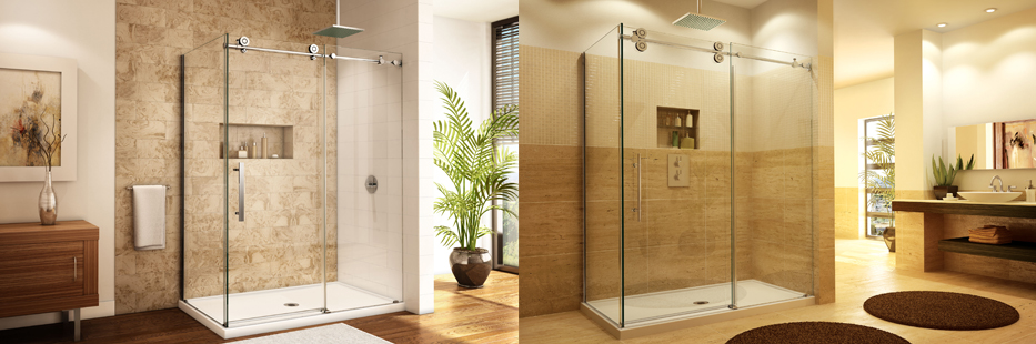 Glass shower doors and pannels