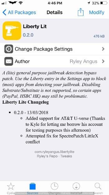 Liberty Lite – Jailbreak detection bypass for iOS 11