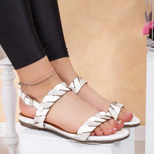 Sandale cu talpa joasa ieftine albe cu argintiu