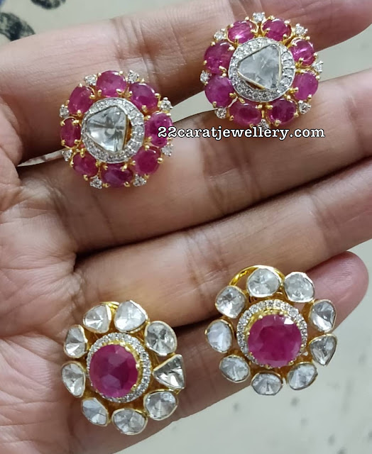 Curved Diamond Emerald Sets Studs