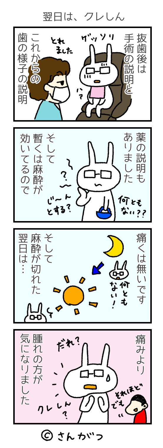 歯科矯正の漫画 7 親知らずの抜歯・・・抜いた編