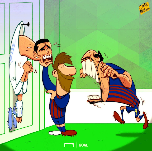 Messi, Suarez, Cristiano Ronaldo cartoon