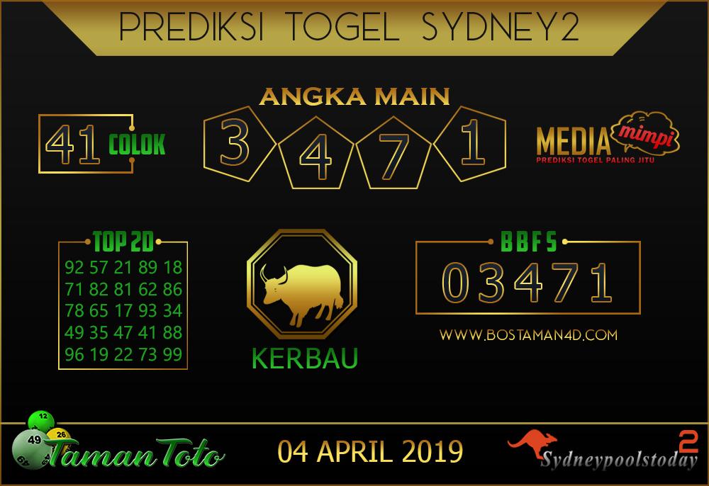 Prediksi Togel SYDNEY 2 TAMAN TOTO 04 APRIL 2019