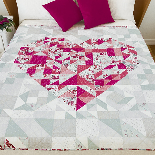Paper Pieced Heart Quilt Free Pattern