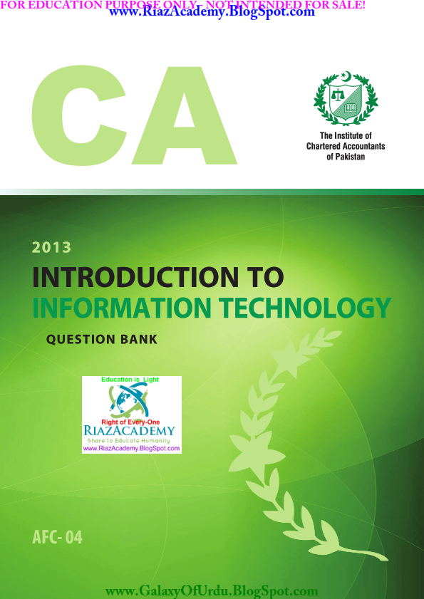 INTRODUCTION TO INFORMATION TECHNOLOGY (Question Bank) by ICAP