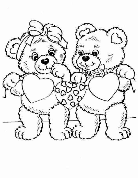 Teddy Bear Holding Heart Coloring Pages Cooloring