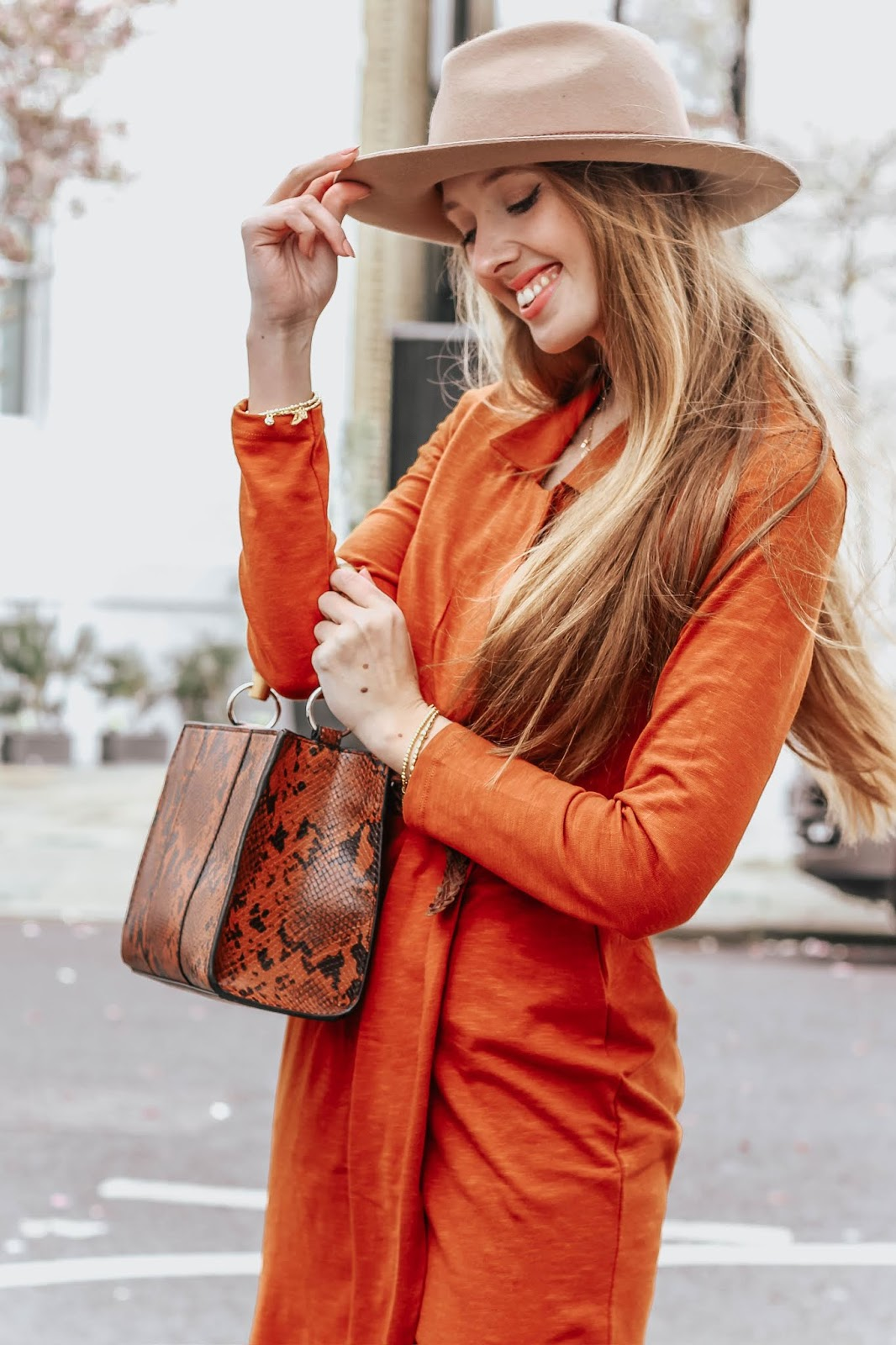 Orange tight wrap midi dress