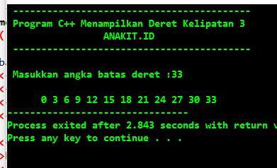 program menampilkan deret bilangan kelipatan 3 dengan bahasa c++