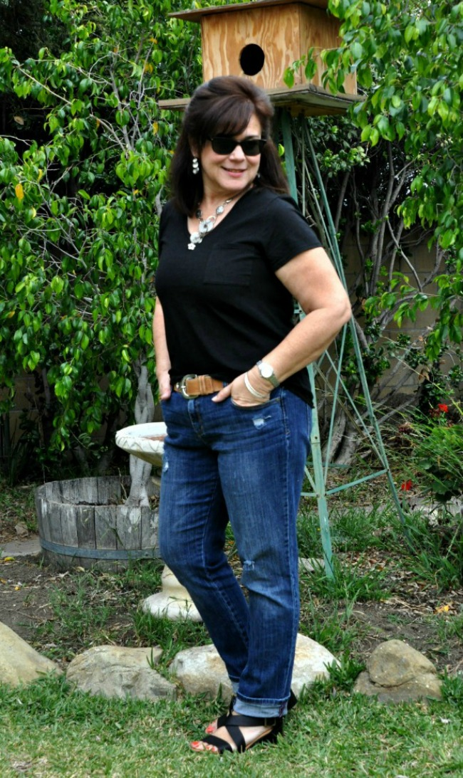 black jeans and distressed jeans over 50