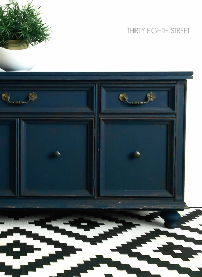 cabinet hardware, furniture hardware, blue furniture, painting a buffet, diy chalk paint