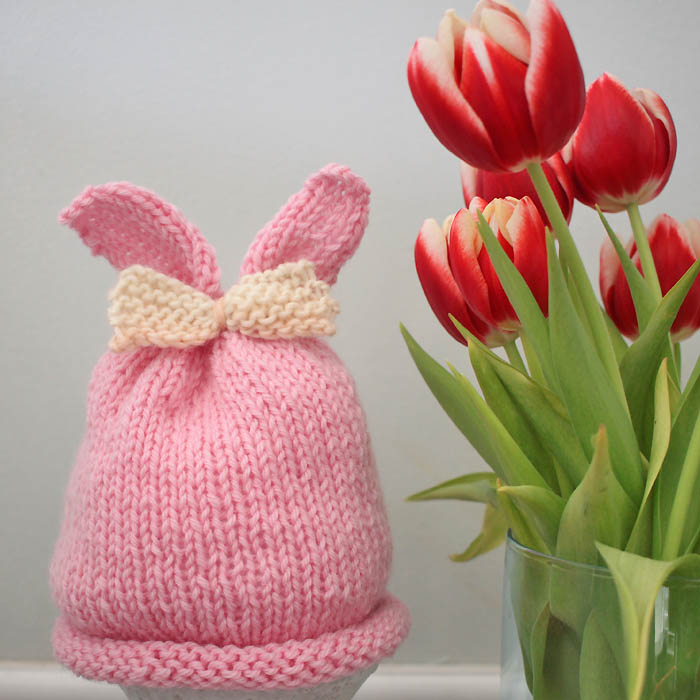 Baby Girl Bunny Ear Hat Free Knitting Pattern