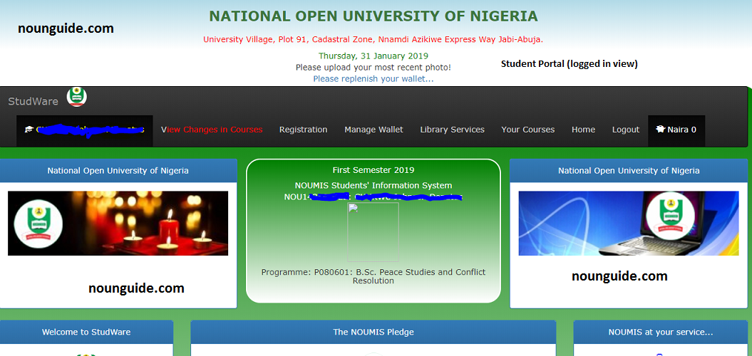 National Open University of Nigeria (NOUN) mode of operation of the institution in terms of curriculum