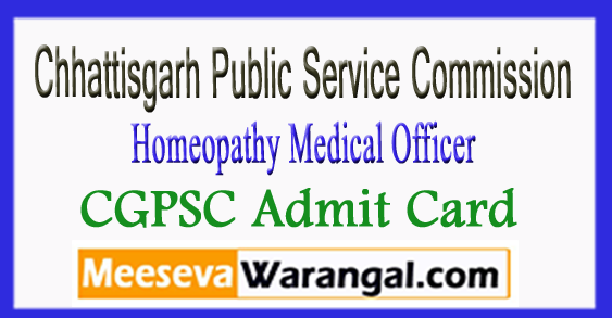CGPSC Homeopathy Medical Officer Admit Card 2017