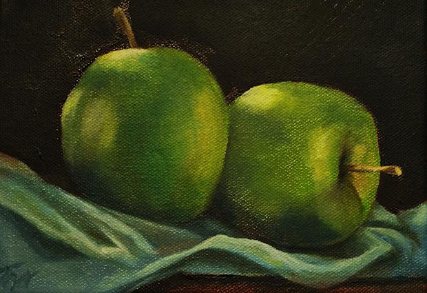 Laura Tovar Dietrick Paintings Pair Of Apples Oil Painting