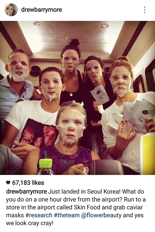 Drew Barrymoore and her team love face mask sheets