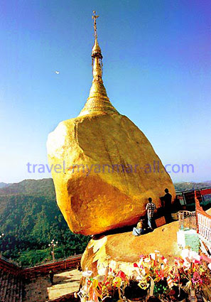 Kyaiktiyo or golden rock pagoda
