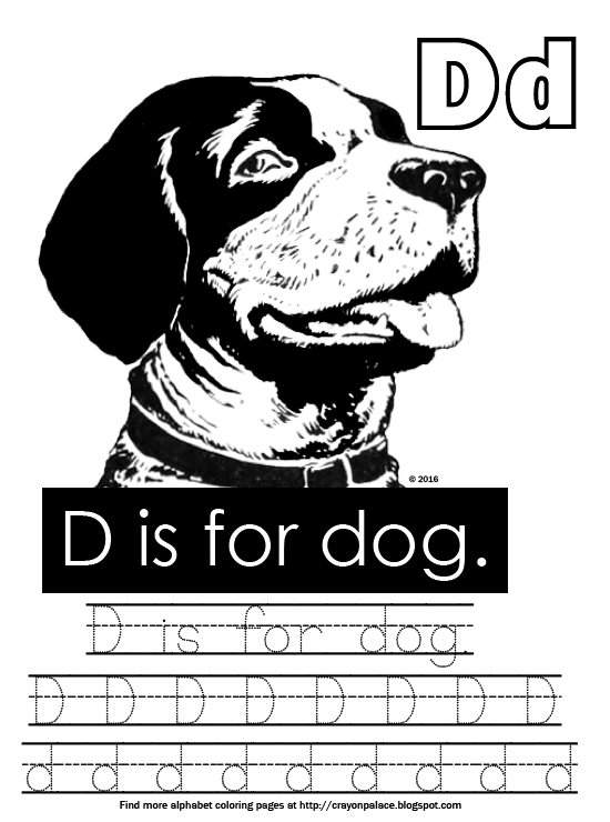 D Is For Dog Alphabet Coloring Page